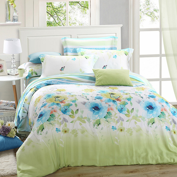 Luxury Green Blue Floral Bedding Set Queen King Size Silk