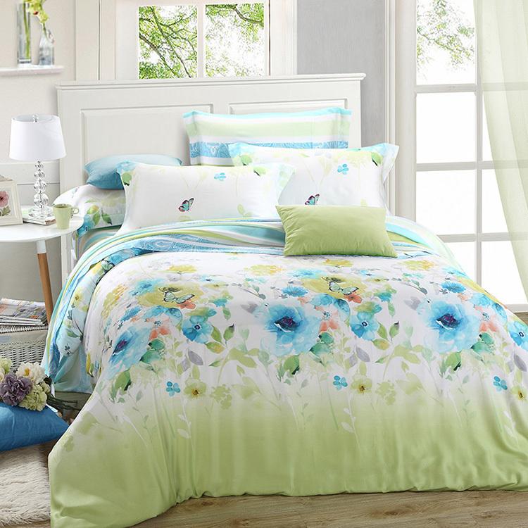 luxury green blue floral bedding set queen king size silk sheet quilt duvet cover designer bed. Black Bedroom Furniture Sets. Home Design Ideas