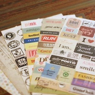 12 sheet/lot(2 bags) Cute Cartoon Paper Sticker Vintage Retro Stamp Sticker for Diary Scrapbooking Decor Free shipping 417(China (Mainland))