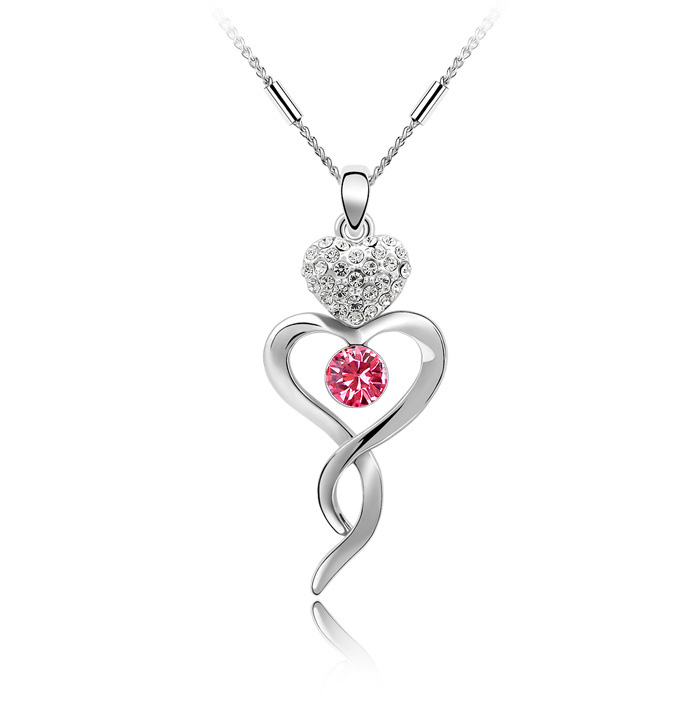 New Fashion Tender Water Drop Pendant Necklace Made With Swarovski Elements Crystals from Swarovski Women Accessories(China (Mainland))