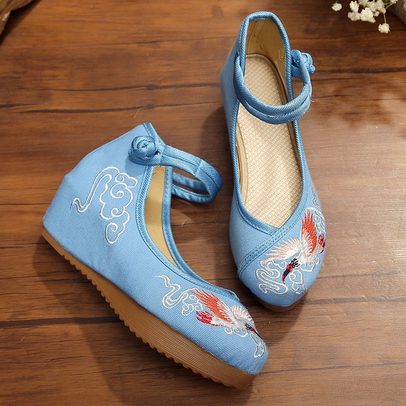 2 Colors Fashion Women's Shoes Old Peking Mary Jane Flat Heel Denim Flats with Embroidered Soft Sole Casual Shoes(China (Mainland))