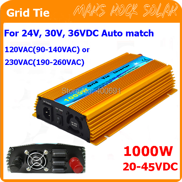 1000W Grid tie micro inverter, 20V-45VDC, 90V-140V or 190V-260VAC, workable for 1200W, 24V, 30V, 36V solar panel or wind system(China (Mainland))
