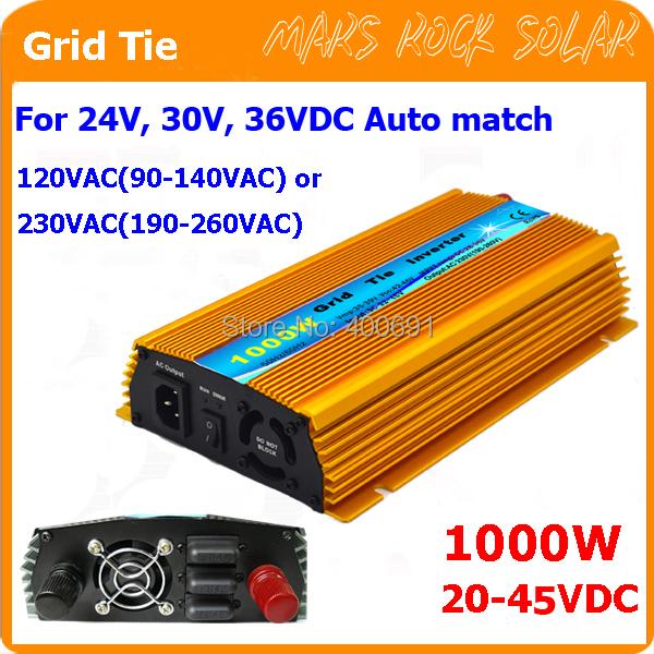 1000W Grid tie micro inverter, 20V-45VDC, 90V-140V or 190V-260VAC, workable for 1200W, 24V, 30V, 36V solar panel or wind system(China (Mainland))