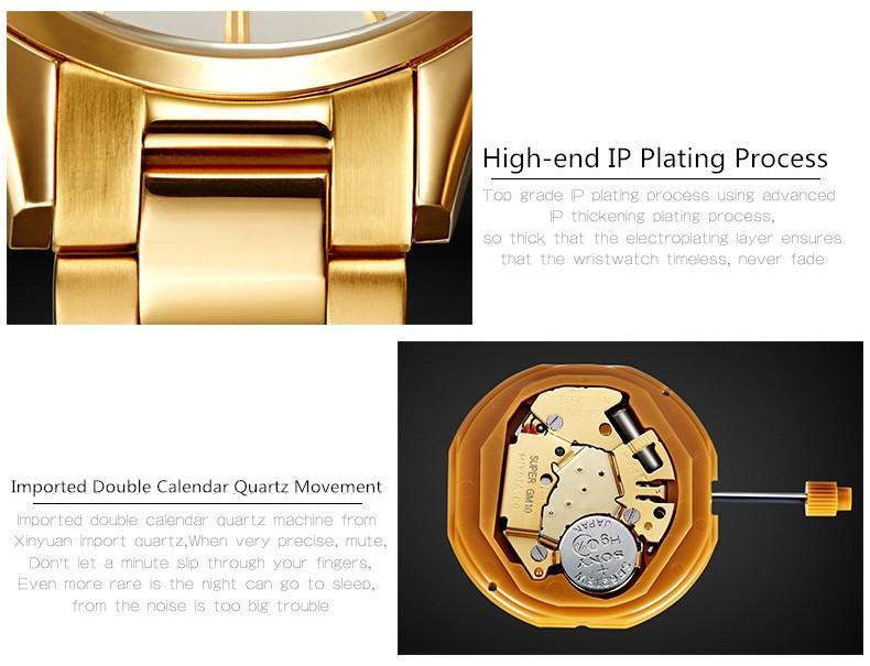 Ochstin Люксовый Бренд Бизнес мужская Кварцевые Часы Повседневная Часы Мужчины Наручные Часы Из Нержавеющей Стали Ремешок Золотой Ободок Дата Часы