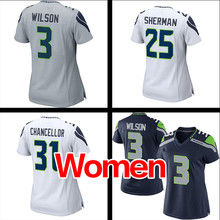 Women's #25 Richard Sherman #31 Kam Chancellor #3 Russell Wilson Stitched Logos Ladies Light Blue Game Free shipping(China (Mainland))