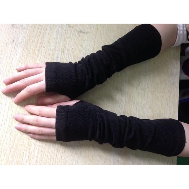 1Pair Black Women Arm Warmers Long Knitted Winter Gloves Fingerless Mittens Wrist #3323