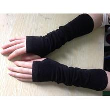 1Pair Black Women Arm Warmers Long Knitted Winter Gloves Fingerless Mittens Wrist #3323(China (Mainland))
