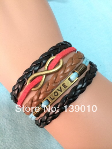 Retro Alloy Black Brown Blue Red Leather Cord LOVE Infinity Charms Bracelets Summer Trendy Women Men Customized Products Jewelry(China (Mainland))