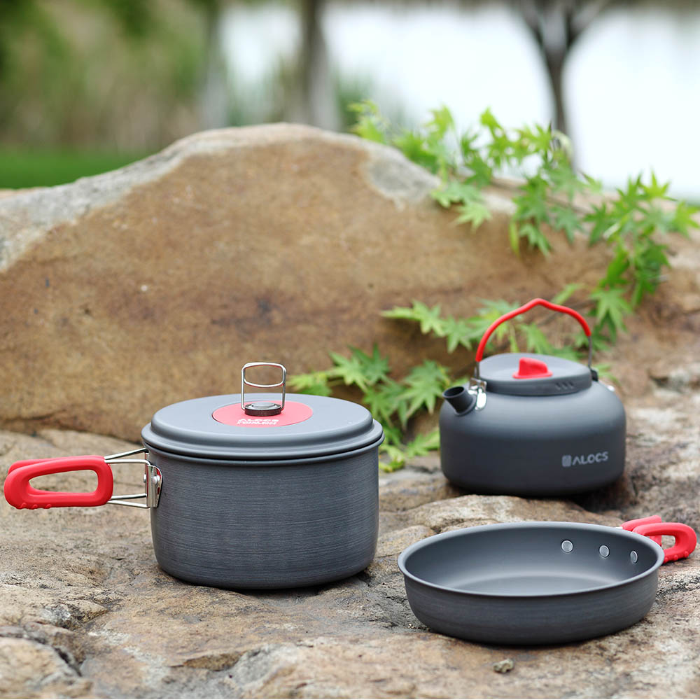 2-3 People Outdoor Tableware Aluminum Portable Ultralight Non-Stick Hiking Cooking Camping Cookware Set Pan Pot Kettle Dishcloth(China (Mainland))