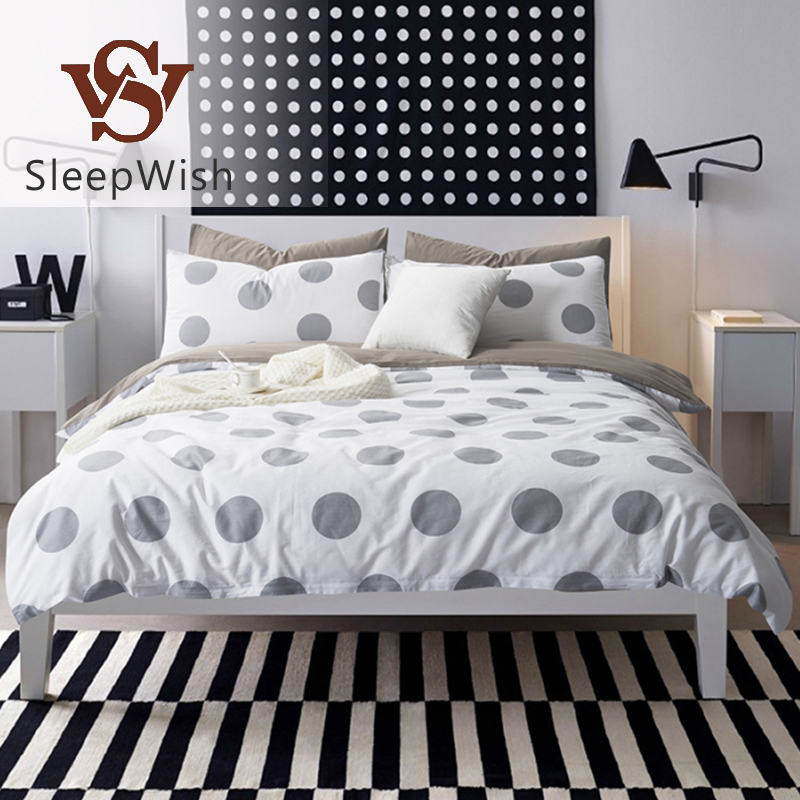 SleepWish Bedding Plain Printed Point Bed Sheets Adults Kids White and Gray Duvet Cover Set Cotton Bedlinen Queen Size 4pcs(China (Mainland))