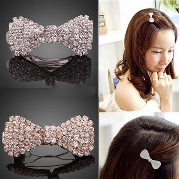 1 X Fashion Women Girls Crystal Rhinestone Bowknot Barrette Hair Clip Clamp Hairpin Hair Accessories