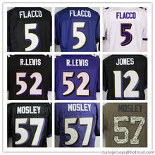 man 5 Flacco #57 Mosley 100%Stitched Lewis Men's Black Purple white Size S-XXXL Best Quality(China (Mainland))