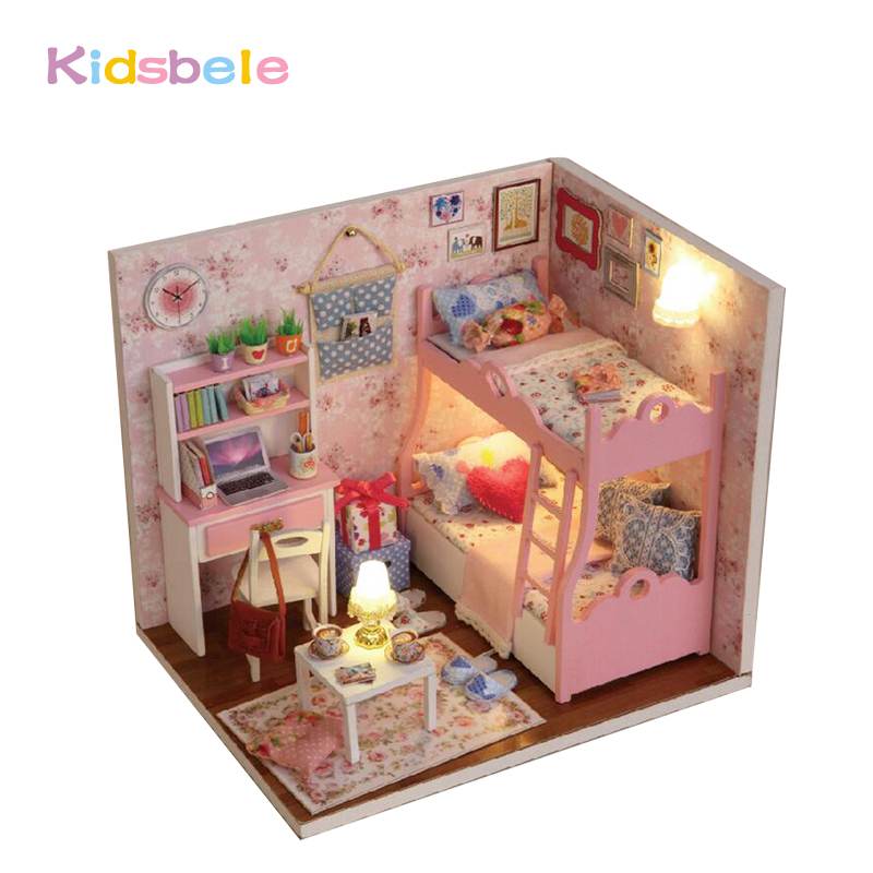 DIY House Toys Kids Handmade Doll House Furniture Wooden Toys Light Pink Room Educational Toys Exercise Ability Toys For Girls(China (Mainland))