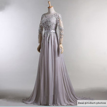 2015 Hot Chiffon Long Sleeve Evening Dresses Grey Color Scoop Neck Muslim Evening Dress Formal Evening Gowns With Appliques(China (Mainland))