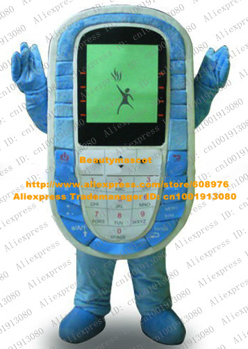 Smart Blue Cellphone Mascot Costume Mascotte Handset Mobile Phone With Colorful Buttons Square Body Adult No.4478 Free Ship(China (Mainland))