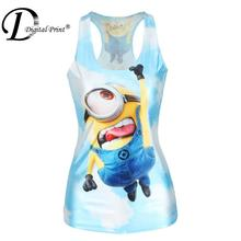 Top sale 2015 Despicable Me Print Women t-shirt Fashion Crop tops Tim the Minions Camisole Sexy Women Clothing(China (Mainland))