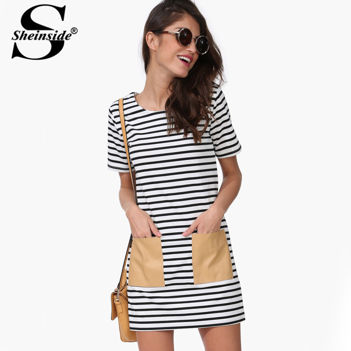 Sheinside Brand 2015 Newest Hot Sale Designer Summer White and Black Short Sleeve PU Leather Pocket Dress(China (Mainland))
