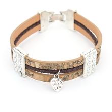 Wood shop brown cork  leather cord  with love heart women bracelet handmade original bracelet H-021(China (Mainland))