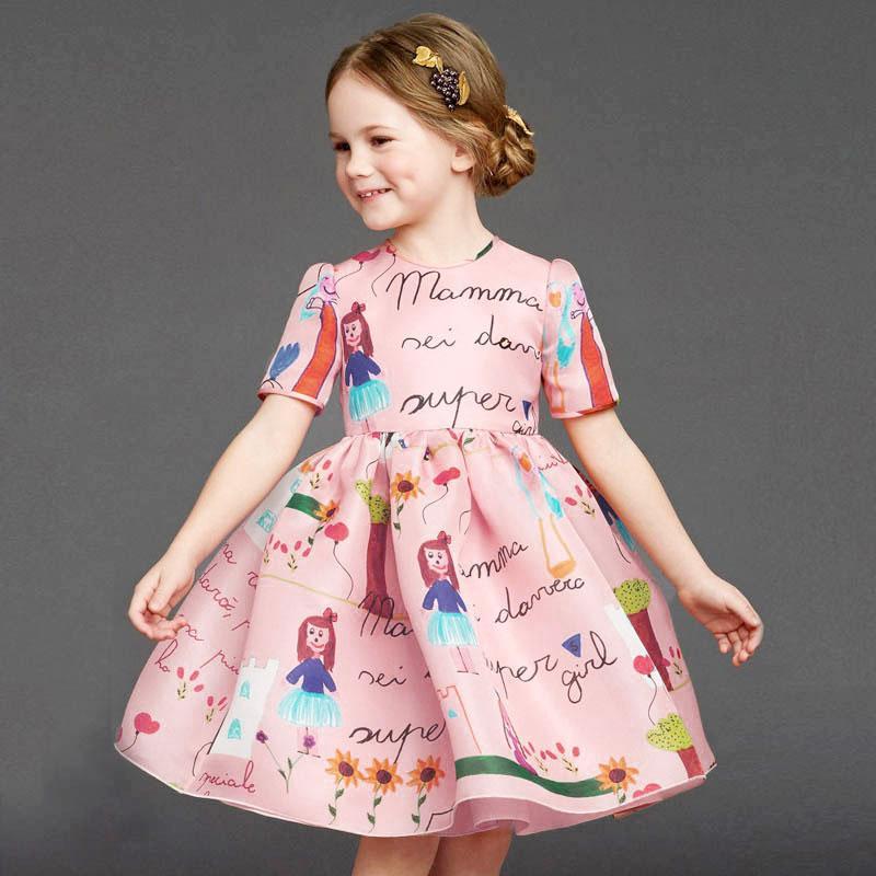 Children Girl Kid New Arrival Princess Graffiti Crewneck Good Selling Short Sleeve Stylish A Line Long Dresses(China (Mainland))