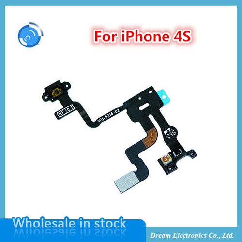 10pcs/lot New Proximity Light Sensor Power Flex Cable For iPhone 4s Replacement Parts On Off Button Flex Cable Free Shipping(China (Mainland))
