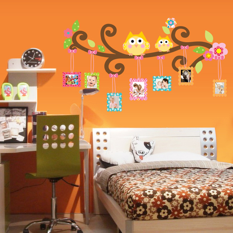 People favorite mascot owl picture frame photo wall stickers decorate the sitting room kids bedroom wall stickers CC6965(China (Mainland))