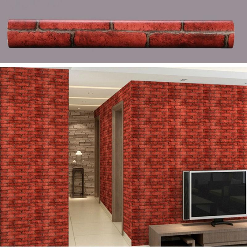 Selbstklebende Tapete Ziegel : Tapete Ziegel Wandaufkleber Vinyl PVC Selbstklebende Tapete 3D Faux