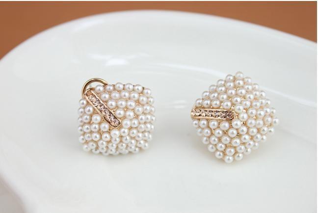 Rhinestone Square Pearl Stud Earrings