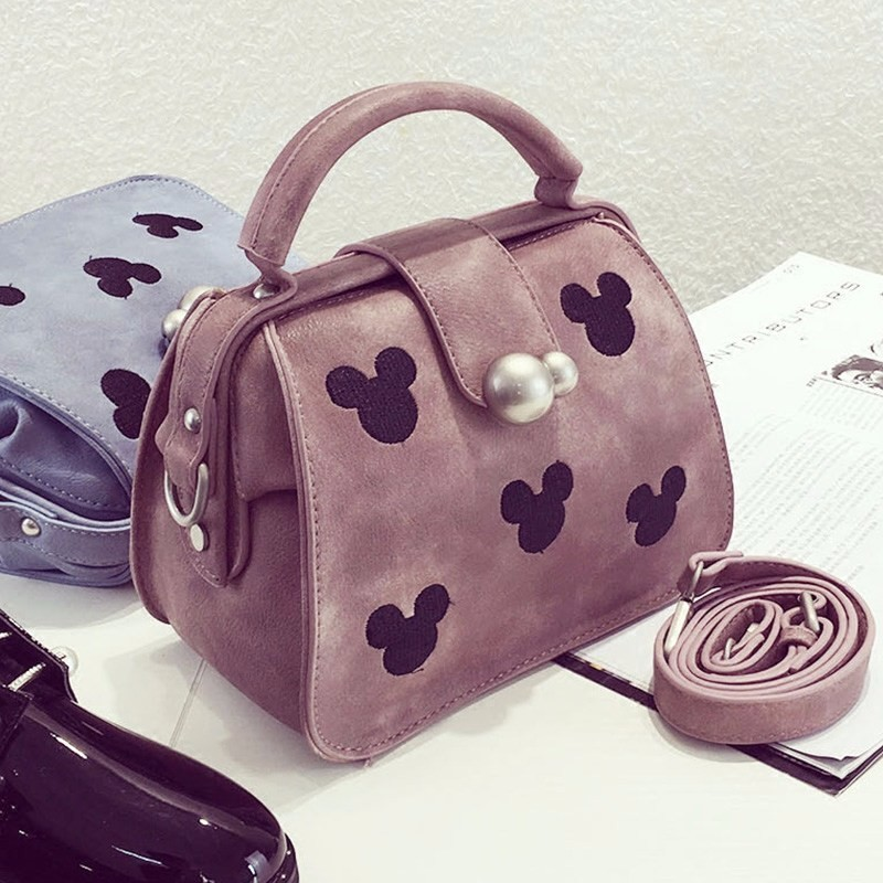 Vintage Shoulder Bag Cute Mickey Ladies Chic Doctor Bag Women Fashion Simple Handbag  Lovely Retro PU Leather Retro Small Bag