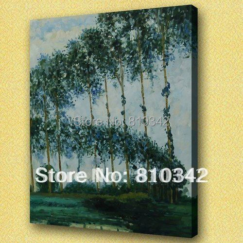 Famous painting Monet's oil paintings Ai Pute riparian aspen fine Reproduction art for bedroom Monet23(China (Mainland))
