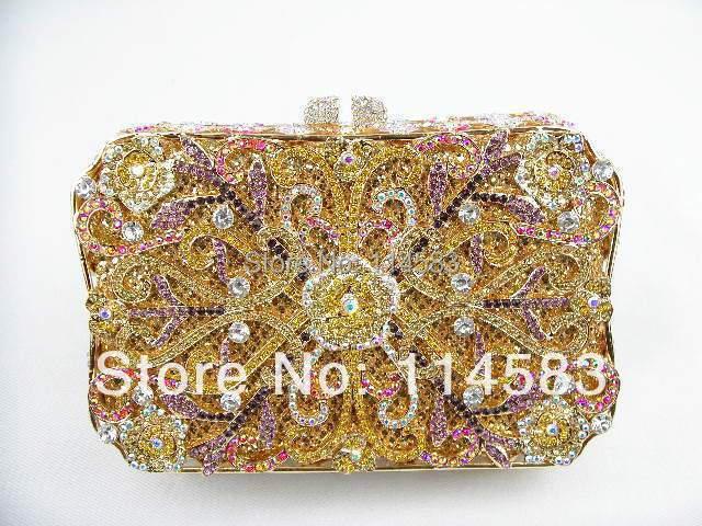 8132-TC Treasure box lady fashion Wedding Bridal Metal Evening purse clutch bag handbag case<br><br>Aliexpress