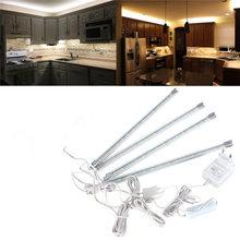 Alta qualityc 4 pz cucina sotto mobile contatore di risparmio energetico ha condotto duro striscia rigida barra luminosa kit bianco bianco caldo 110 v-240 v(China (Mainland))
