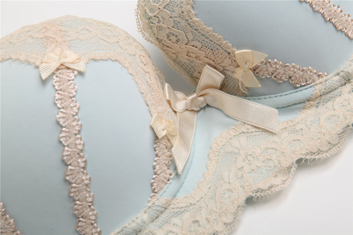 2016 sexy lingerie push up sexy lace thin cotton pad bow dot young girls cute simple