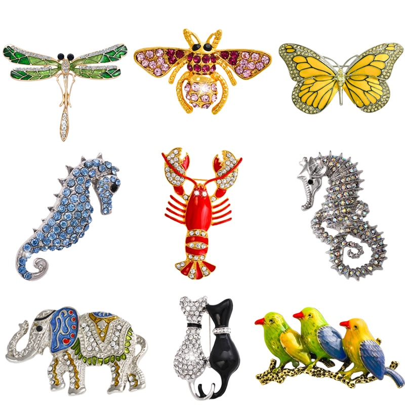 Retro Insect Dragonfly Butterfly Broach Bee Brooch Women Crystal Animal Elephant Cat Birds Sea Horse Broches Mujer Men Brosche(China (Mainland))