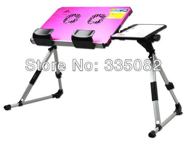 Hot sale stand Adjusting portable laptop desk with USB fans Aluminum alloy folding bed Foldable notebook table free shipping