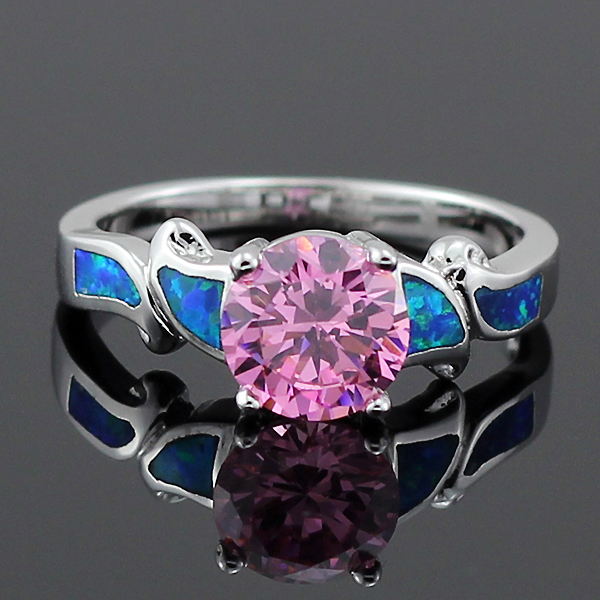 Free Gift Box Hot Sale Blue Fire Opal Pink Topaz For Women Claw Inlay Prong Setting Blue Opal Rings Size 5 6 7 8 9 10 OR802(China (Mainland))