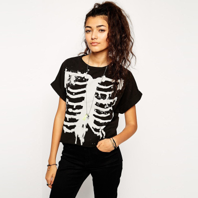 Casual T-Shirt 2015 Women Fashion Brand Summer Short Sleeve Skull Skeleton Pattern Women Cotton t Shirt Plus Size Top111(China (Mainland))