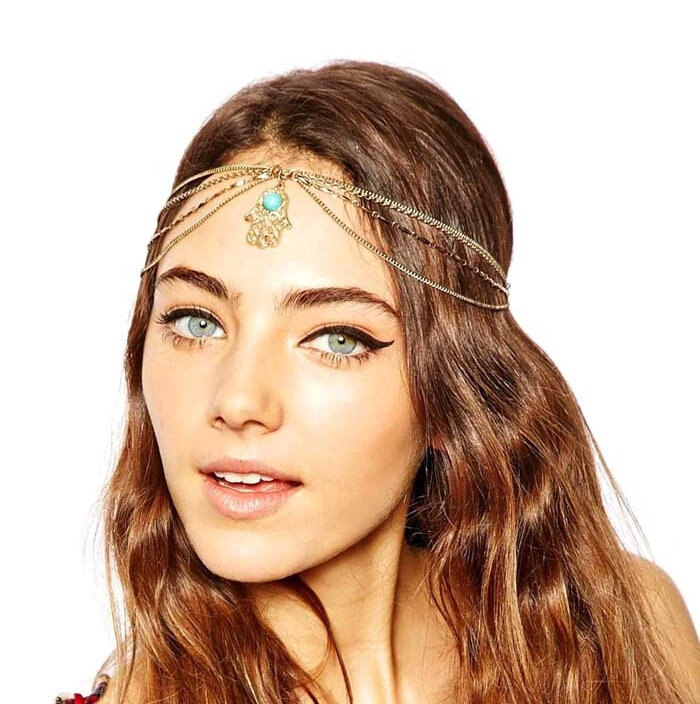 2016 Turquoise Golden Palm Crown Headband Forehead Jewelry Head Chain Hair Accessories hair jewelry acessorios para cabelo CF068(China (Mainland))