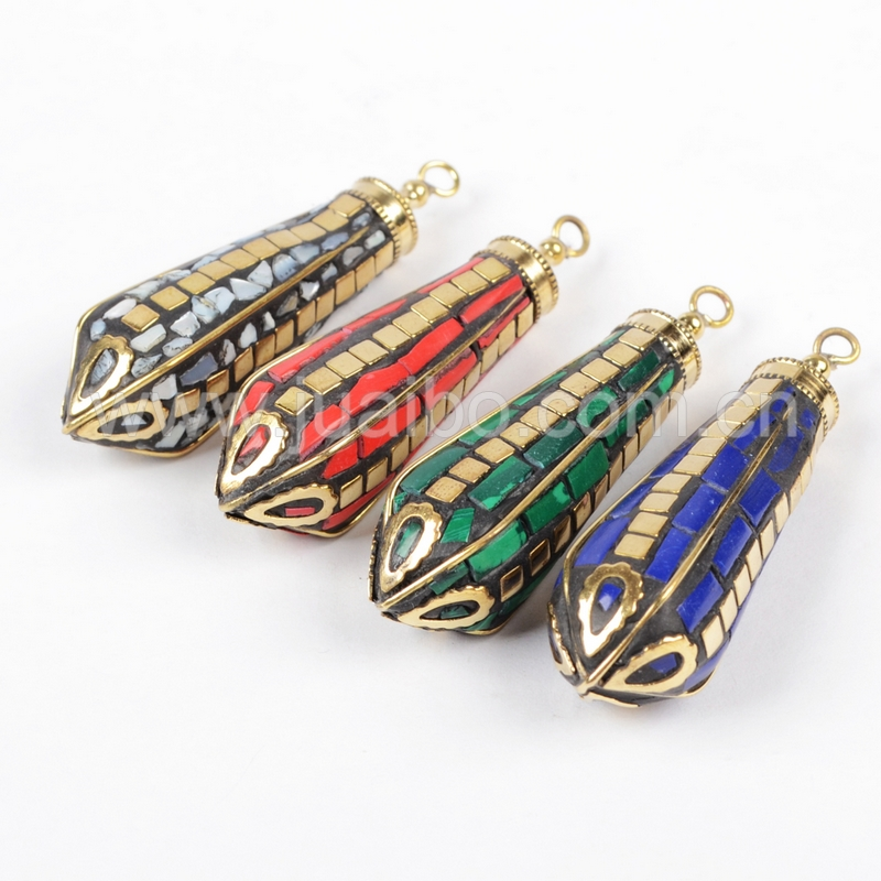 Fashion Jewelry Brass Ornate Indian Horn Charm With Multi-Color Inlay For Making Necklace Wholesale Price JT060<br><br>Aliexpress