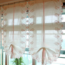 Countryside Style Transucidus Pink Bow&Flower Embroidered Roman Curtain Adjustable Height Balloon Curtain 3 different Fabric(China (Mainland))