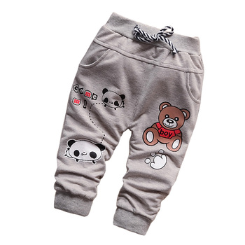 New 2016 Casual Pants Cotton Boy Fashion Cute Cartoon Bear Baby Clothing Pants Baby All-Match Children Pants For Boys 7-24 Month