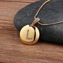 Qualidade superior feminino meninas carta inicial colar de ouro 26 letras charme colares pingentes de cobre cz jóias personalizado colar(China)