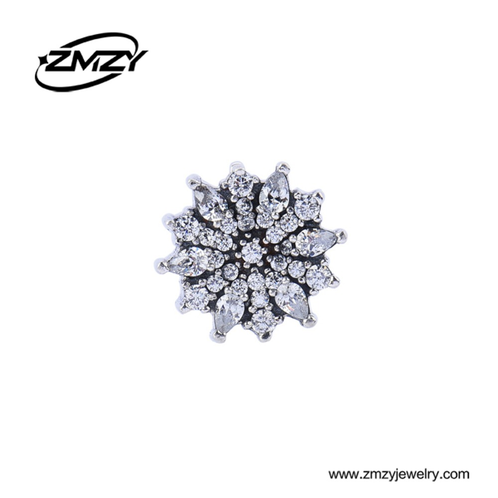 Fashion Crystal Flower 925 Sterling Silver Charm Beads Big Hole Beads fit European Pandora Charm Bracelet<br><br>Aliexpress