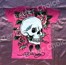 Track Ship+New Vintage Retro T-shirt Top Tee Pink Summer Skeleton Will send A Rose to You 0355(Hong Kong)