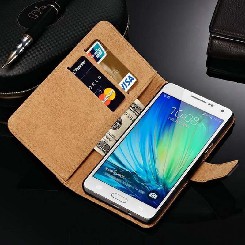 Luxury Genuine Leather Case For Samsung Galaxy A5 A5000 Wallet Style Bag Cover For Galaxy A5 Flip Stand Case New Arrival 2015(China (Mainland))