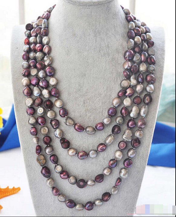 P4006 100 14mm gray purple baroque freshwater pearl necklace ^^^@^Noble style Natural Fine jewe SHIPPING (C0309)<br><br>Aliexpress