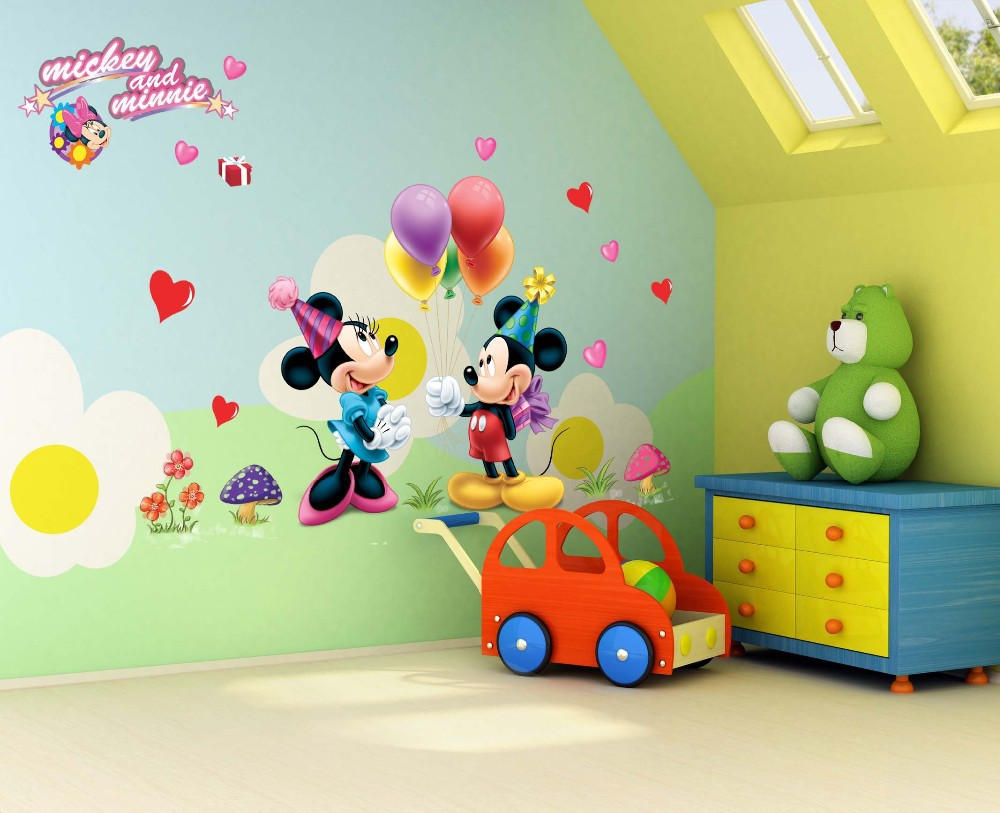 %602 Cartoon love balloon Mickey Minnie mouse wall stickers for kids room decorations movie wall art removable pvc animal decals(China (Mainland))