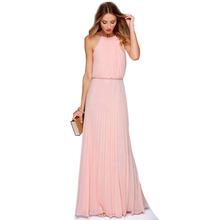 New Hot 2016 Spring Summer Fashion Casual Sexy Long Party Dresses Sleeveless O-neck Pleated Chiffon Maxi Floor-Length Dress