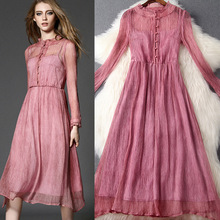 Party silk Long dress New Fashion 2016 Spring High quality Women's Vintage Long sleeve XL size Elegant Cute Long dresses