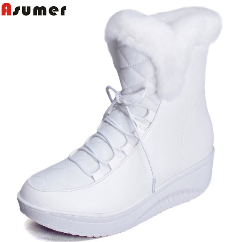 Asumer Hot Sale Shoes Women Boots Solid Slip-On Soft Cute Women Snow Boots Round Toe Flat with Winter Fur Ankle Boots(China (Mainland))