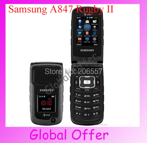 A847 Original Samsung A847 Rugby II 3G QUADBAND GSM AT&T 2.0MP Bluetooth GPS Unlocked Cell Phone A847 Free Shipping(China (Mainland))